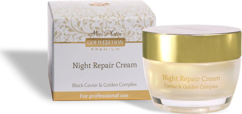 Mon Platin Восстанавливающий ночной крем Gold Edition Premium, обогащенный экстрактом черной икры, 50 мл футболка с круглым вырезом рисунком и короткими рукавами