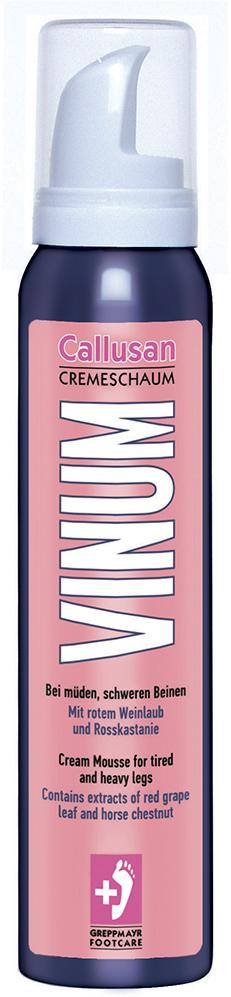 Gehwol Callusan Venum - Крем-пенка для ног Каллюзан Венум 125 млPR-0208Крем-пенка Каллюзан Венум (Callusan Venum) специально разработана для снятия и предупреждения отеков, тяжести и усталости в ногах. Это воздействие основанно на сочетании экстракта из листьев красного винограда и конского каштана. Содержащиеся в них флавоноиды стимулируют вены и кровообращение, снимают неприятное ощущение тяжести и оказывают противовоспалительное воздействие. Освежающие компоненты (ментол) и увлажняющие (глицерин и карбамид) создают ощущение легкости и свежести. Длительный ухаживающий эффект придают масло Ши, масло жожоба и витамины. Идеально подходит как для людей, постоянно находящихся на ногах, так и для тех, кто проводит долгое время, сидя - дома, на работе или во время длительных поездок. Дерматологически проверено. Назначение: для избавления от застоя крови в сосудах и венах.Как ухаживать за ногтями: советы эксперта. Статья OZON Гид