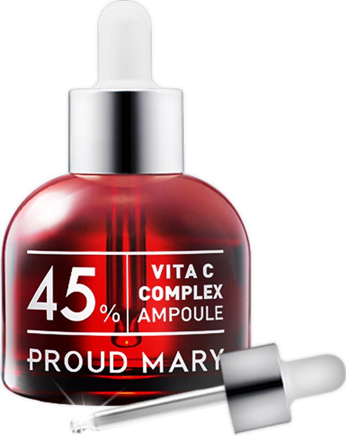 Proud Mary Комплексная сыворотка с витамином С 45% в ампуле, 50 мл8809221178510Сыворотка, выравнивающая тон кожи, содержит витамин С, который справляется с такими несовершенствами кожи как: возрастная пигментация, постакне, тусклый цвет лица. Гиалуроновая кислота способствует интенсивному увлажнению, алоэ – успокаивает, арбутин – осветляет, а экстракт корня солодки снимает покраснения.