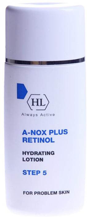 Holy Land Увлажняющий лосьон A-Nox Plus Retinol Hydrating Lotion, 60 мл114055Нежная увлажняющая эмульсия, содержащая смягчающие, противовоспалительные и антисептические компоненты и ретинол. Предотвращает сухость и шелушение кожи. Уменьшает жирный блеск и препятствует образованию комедонов. Применяется как лёгкий универсальный крем. Активные компоненты: сквален, молочная кислота, ретинол.