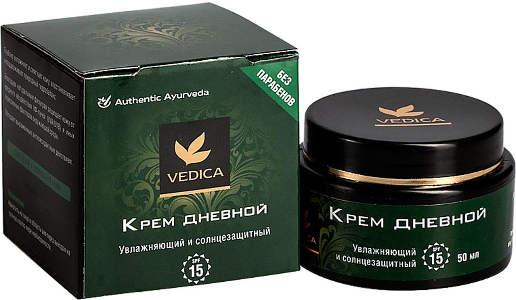 Vedica Крем Дневной увлажняющий и солнцезащитный без парабенов, SPF 15, 50 мл8906015081107Глубоко увлажняет и смягчает кожу лица, восстанавливает и поддерживает природный гидробланас. Натуральные фильтры защищают кожу от вредного воздействия УФ-лучей (UVA/UVB), SPF15. Обладает выраженным антиоксидантным эффектом. Для нормальной и сухой кожи лица.