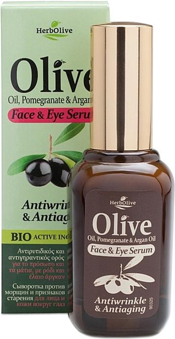 HerbOlive Сыворотка против морщин и признаков старения для лица и кожи вокруг глаз 30 мл недорого