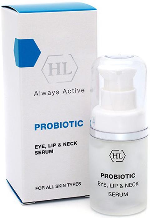 Holy Land Сыворотка для век, губ и шеи ProBiotic Eye, Lip and Neck Serum 20 мл127589Сыворотка для век, губ и шеи с миорелаксантами, аминокислотами, витаминами и минералами. Действие:Защищает и восстанавливает кожу. Обладает успокаивающим эффектом. Оказывает выраженный лифтинг эффект. Активные компоненты: Молочные протеины, метаболиты (продукты жизнедеятельности) бифидобактерий, экстракты цветов липы и гамамелиса. Гексапептид миорелаксант, предотвращает появление глубоких мимических морщин. Пентапептид стимулирует синтез коллагена и гиалуроновой кислоты, что приводит к уменьшению глубины морщин.