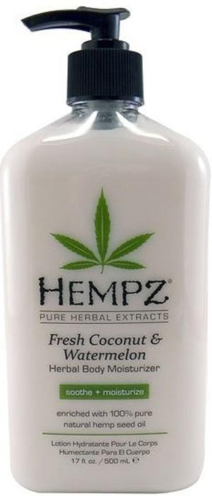 Hempz Молочко для тела увлажняющее Кокос и Арбуз Fresh Coconut and Watermelon Herbal Moisturizer 500 мл159064Освежающее молочко для тела Hempz на основе растительных экстрактов кокоса и арбуза, обогащено 100% натуральным очищенным маслом конопляного семени, сочетает в себе успокаивающие свойства алоэ вера и ромашки, обогащёно витамином Е, омега кислотами, экстрактом авокадо, содержит кокосовое масло и экстракт арбуза, которые оказывают комплексное увлажняющее действие. Молочко питает, увлажняет, успокаивает, защищает, оживляет кожу. Оцените эффективность натурального сбалансированного ухода за кожей. Не содержит парабенов, глютенов.