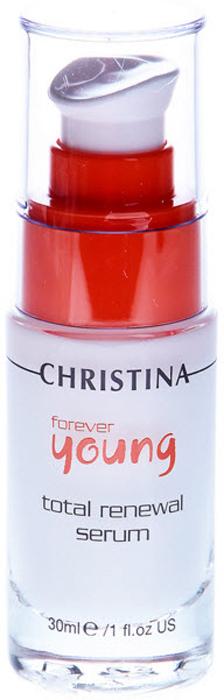 Christina Омолаживающая сыворотка Тотал Forever Young Total Renewal Serum 30 мл05300421Омолаживающая сыворотка Тоталь Christina Forever Young Total Renewal Serum. Концентрированная сыворотка шелковистой консистенции, быстро проникает в кожу и дает длительный эффект. Содержит высокую концентрацию омолаживающих пептидов, в том числе эпидермальный фактор роста, фибронектин и др., которые эффективно задерживают старение кожи на клеточном уровне, увлажняют ее и укрепляют иммунитет. Омолаживающая сыворотка Тоталь Christina надолго оставляет ощущение свежести и бархатистости кожи, стирает следы усталости и стресса.