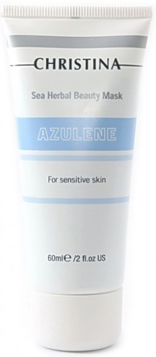 Christina Азуленовая маска красоты для чувствительной кожи Sea Herbal Beauty Mask Azulene 60 млМ-14aАзуленовая маска красоты для чувствительной кожи Christina Sea Herbal Beauty Mask Azulene. Насладитесь необыкновенной нежностью этой кремообразной маски! Обогащенная успокаивающими растительными ингредиентами, включая добываемый из оливы сквален, ромашку, азулен и масло шиповника, маска увлажняет чувствительную кожу, повышает ее тонус и обеспечивает постоянный питательный эффект.