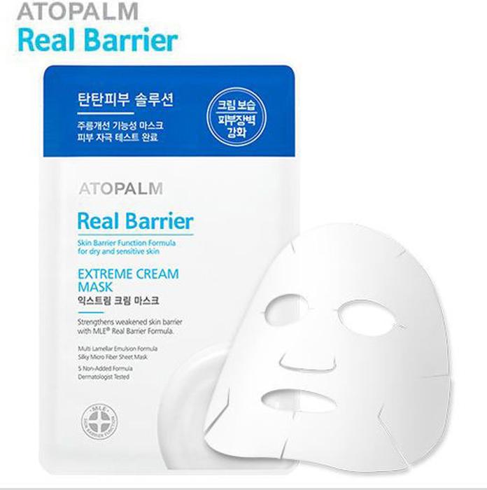 Atopalm Маска с защитным кремом для лица, Real Barrier, 28 мл8809048416499Серия средств Real Barrier содержит комплекс компонентов, которые успокаивают, восстанавливают и защищают чувствительную и сухую кожу. Серия содержит арома-комплекс для облегчения стресса, которому подвержена чувствительная кожа: корень ветивера помогает избавиться от накопленного за день стресса, лаванда успокаивает и помогает расслабиться, масло апельсина обладает ярким насыщенным фруктовым запахом, который положительно влияет на повышение эмоционального уровня. Маска изготовлена из тончайшего волокна и обильно пропитана кремом, содержащим пептиды и церамиды. Она идеально повторяет контуры лица и способствует бережному уходу за чувствительной кожей, восстанавливая защитную функцию кожи, увлажняя и повышая ее эластичность. Не содержит: парабены, минеральное масло, искусственные отдушки, искусственные красители, этанол, феноксиэтанол, бензофенон, пропилен гликоль, ПЭГ, диэтаноламин