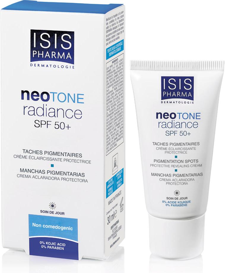Isispharma Дневной крем NEOTONE Radiance SPF 50+ 30 мл9658Инновационная формула NEOTONE RADIANCE предотвращает и устраняет пигментные пятна, защищая кожу от UV-лучей:1. Аскорбиновая кислота повышает яркость кожи. Отшелушивает и обновляет кожу, придавая ей сияние2. Lumiskin (Диацетил Болдин) ингибирует активность тирозиназы3. B-White (пептид Biomimetic инкапсулированный с помощью носителей липосом) уменьшает количество белков, участвующих в процессе пигментации, ингибирует активность тирозиназы и синтез меланина4.Сочетание широкого спектра UVA / UVB и минеральных солнцезащитных фильтров, защищающих кожу от повреждений солнечными лучами, препятствуя проникновению свыше 90% фотонов UVA и UVB лучей.