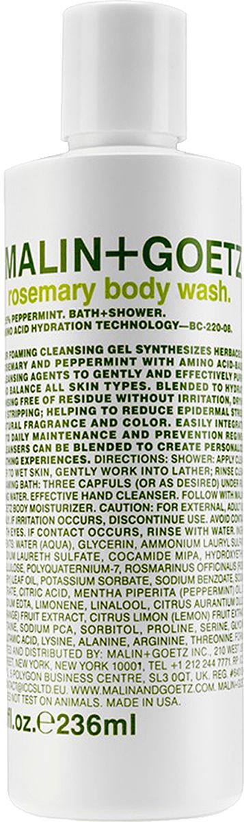 Malin+Goetz Гель для душа Розмарин 236 млMG220Увлажняющая формула на основе аминокислот. Мягкие гели бережно очищают кожу, оставляя тонкий аромат. Моющая основа – аммониум лаурил сульфат и содиум лаурет сульфат. Эфирные масла лимона и сладкого апельсина освежают, восстанавливают, повышают эластичность кожи, поднимают настроение. Эфирные масла розмарина и мяты улучшают состояние любой кожи, освежают, устраняют усталость и неуверенность.