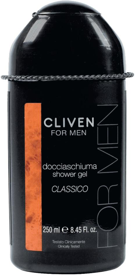 Cliven Мужской гель для душа Classico 250мл7425Освежающий и тонизирующий аромат для мужчин. Содержит молочную сыворотку и водорастворимый ланолин, благодаря которым восстанавливается клеточный слой кожи, дарит ощущение чистоты и свежести.