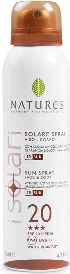 Natures Sun Солнцезащитный спрей SPF 20, 150 мл60041656Идеально подходит для уже загорелой кожи. Содержит био-активные компоненты: уницилярную воду сладкого апельсина, экстракт календулы, рисовое молочко, IR-SUN комплекс, смесь микрокапсулированных фотостабильных фильтров, обеспечивающих длительную защиту против UVA, UVB лучей и инфракрасного излучения. ВЫСОКАЯ СТЕПЕНЬ ЗАЩИТЫ (BSRS 2008). Водостойкий. НЕ СОДЕРЖИТ СПИРТ.
