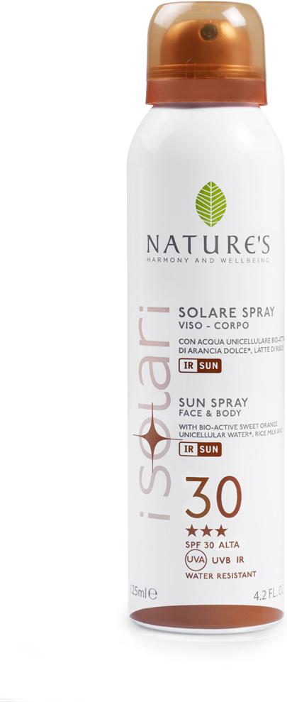 Natures Sun Солнцезащитный спрей SPF 30, 150 мл60041657Идеально подходит для очень светлой и нежной кожи. Содержит био-активные компоненты: уницилярную воду сладкого апельсина, экстракт календулы, рисовое молочко, IR-SUN комплекс, смесь микрокапсулированных фотостабильных фильтров, обеспечивающих длительную защиту против UVA, UVB лучей и инфракрасного излучения. ВЫСОКАЯ СТЕПЕНЬ ЗАЩИТЫ (BSRS 2008). Водостойкий. НЕ СОДЕРЖИТ СПИРТ.