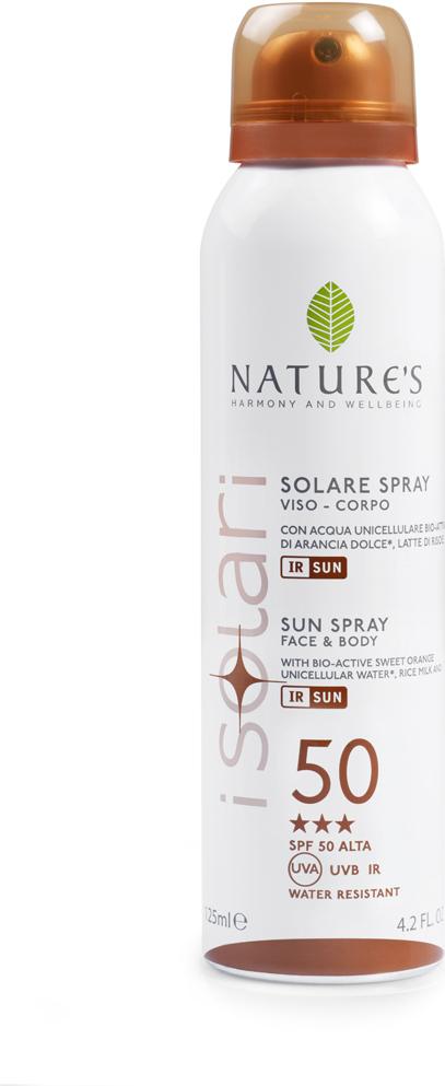 Natures Sun Солнцезащитный спрей SPF 50, 150 мл60041658Идеально подходит для первых дней на солнце, для светлой, нежной и чувствительной кожи. Содержит био-активные компоненты: уницилярную воду сладкого апельсина, экстракт календулы, рисовое молочко, IR-SUN комплекс, смесь микрокапсулиро-ванных фотостабильных фильтров, обеспечиваю-щих длительную защиту против UVA, UVB лучей и инфракрасного излучения. ВЫСОКАЯ СТЕПЕНЬ ЗАЩИТЫ (BSRS 2008). Водостойкий. НЕ СОДЕРЖИТ СПИРТ.