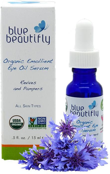 Blue Beautifly Органическая смягчающая сыворотка для области вокруг глаз, 15 млBB-009Для всех типов кожи. Органическая сыворотка - это эффективное средство против старения кожи, содержит большое количество органических экзотических масел и растительных стволовых клеток. Она укрепляет, увлажняет и восстанавливает нежную кожу вокруг глаз. Ценные масла: Аргана, Граната, Облепихи, Таману, Миндаля, Абрикоса и Жожоба смягчают кожу, борются с морщинами и «гусиными лапками»,а экстракты Розы, Зеленого Кофе, Василька, Хвоща полевого и Очанки усиливают эффективность ухода за кожей- успокаивают, укрепляют и осветляют кожу вокруг глаз. Нежная ароматерапевтическая смесь эфирных масел Лаванды и розовой Герани уменьшает воспаление и восстанавливает кожу вокруг глаз. USDA сертифицированный органический продукт.