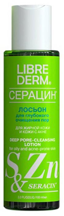 Librederm Серацин лосьон для глубокого очищения пор 100 мл115200Лосьон предназначен для глубокого очищения жирной кожи лица от излишне выделенного себума (кожного сала) и ежедневных загрязненийизбавляет от черных точек, оказывает мягкое отшелушивающее действие, успокаивает кожу, придает ей здоровый видподходит для жирной кожи и кожи с акнесодержит серу, экстракт пальчикового лайма, балансирующий комплекс нового поколения с солью цинка.
