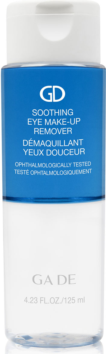 GA-DE Жидкость для снятия макияжа Soothing Eye Make-up Remover, 125 мл00010350Деликатное двухфазное средство для снятия макияжа с глаз. В состав жидкости входит экстракт василька, благодаря которому очищение не вызывает раздражения и подходит для сверхчувствительной кожи. Рекомендуется для любого типа кожи.