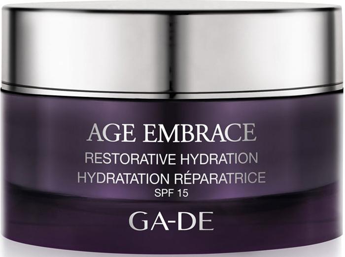 GA-DE Восстанавливающий увлажняющий дневной крем Age Embrace spf 15, 50 млУ-3025Код молодости и фото-омоложение кожи. Высокоэффективный омолаживающий крем для восстановления, уплотнения и защиты дермы, повышает плотность ткани кожи. Компенсирует снижение гормональной активности, поддерживает необходимый уровень увлажнения, увеличивает содержание воды в коже, восстанавливает гидратацию, укрепляет контуры лица, борется с дряблостью. Основные активные компоненты крема: Menofit R, экстракт корня шелковицы с полей и гор Японии, экстракт коры сосны, молочная сыворотка сои, масло ши, витамин Е.