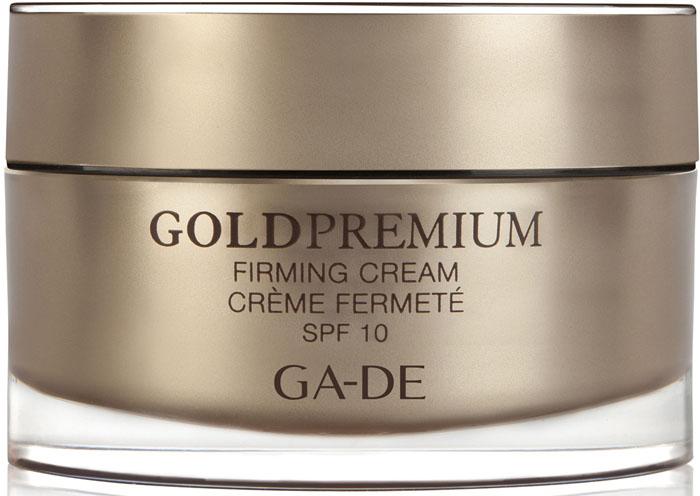 GA-DE Укрепляющий дневной крем Gold Premium spf 10, 50 мл4630018880217Скажи НЕТ - старению кожи. Нежный шелковистый крем комплексного действия, интенсивно обогащает кожу влагой, стимулирует выработку коллагена. SPF фактор защищает от вредного воздействия окружающей среды. Уникальная формула включает в себя защищающий комплекс, который благодаря своим свойствам и способностям укрепляет естественный защитный механизм кожи. Предотвращает потерю влаги, разрушение клеток и преждевременное старение кожи. Активные компоненты: Lifto Peptide, экстракты 3 растений: цветы японской жимолости, плод растения Ксантиум, корень Циперуса, гиалуроновая кислота.