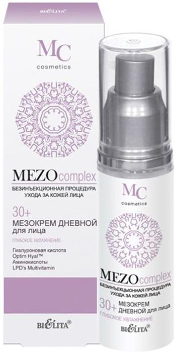 Белита Мезокрем дневной для лица 30+ Глубокое Увлажнение MEZOcomplex, 50 мл22Легкий по структуре дневной мезокрем восстанавливает оптимальный уровень увлажненности кожи, увеличивает тонус и упругость кожи, выравнивает ее поверхность, улучшает цвет лица, придает свежий вид.Optim Hyal™ стимулирует синтез гиалуроновой кислоты, восстанавливает ее оптимальный баланс, повышает увлажненность кожи, увеличивает ее эластичность, плотность и упругость, уменьшает несовершенства и разглаживает морщины. Гиалуроновая кислота глубоко увлажняет кожу и удерживает влагу на поверхности, повышает эластичность кожи, разглаживает морщины и выравнивает тон. Коктейль из аминокислот (таурин, глицин, аргинин) наполняет клетки кожи энергией и жизненной силой, способствует клеточной регенерации. LPD's Multivitamin (витамины A, C, E, F) ускоряют процесс обновления клеток, стимулируют синтез коллагена и сокращают морщины. Polylift® обладает легким лифтинг-эффектом, придает коже упругость, выравнивает микрорельеф, сокращает морщины.ВНИМАНИЕ: активная формула — возможно пощипывание.