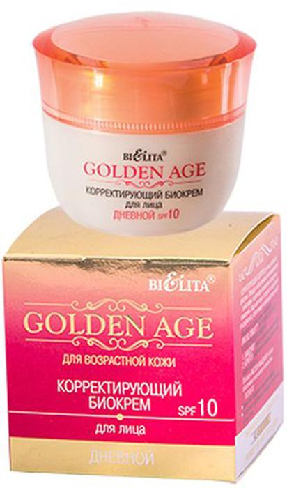 Белита Корректирующий биокрем для лица Дневной Golden Age SPF 10, 50 млВ-1130Линия: GOLDEN AGEКорректирующий биокрем для лица активного действия защищает кожу от вредного воздействия ультрафиолета, обеспечивает антиоксидантную защиту. Обладает интенсивным омолаживающим действием, корректируя проявление возрастных изменений. Обогащенный натуральными компонентами, крем обеспечивает глубокое корректирующее действие.Входящие в состав активные компоненты (IRIS ISO, IDEALIFTТМ) интенсивно действуют в 2-х векторном направлении:1. Замедляют скорость возрастных изменений кожи лица. 2. Борются с нарушением барьерных свойств кожи, потерей упругости. Входящее в состав крема Масло Макадамии оказывает регенерирующее, увлажняющее, смягчающее действие на кожу, замедляет процессы старения, способствуя омоложению.Результат: Возрастные изменения приостанавливаются. Контур лица подтягивается и повышается эластичность и тонус кожи.