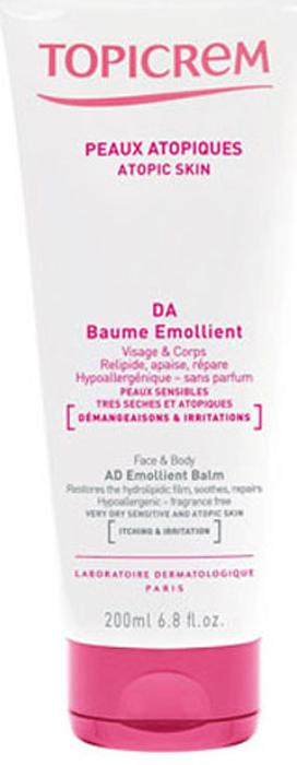 Topicrem АД Бальзам липидовосстанавливающий для атопичной кожи, 200 млTO0045Разработан для ухода за очень сухой чувствительной и атопичной кожей младенцев, детей и взрослых. Восстанавливает гидролипидную пленку, успокаивает, увлажняет и смягчает кожу. Содержит льняное масло (насыщает необходимыми жирными кислотами омега 3 и 6, восстанавливает гидролипидную пленку), и аллантоин (уменьшает раздражения, зуд, ощущение покалываний). Нежирная и нелипкая текстура. Быстро впитывается. Без ароматизаторов, красителей, парабенов. Гипоаллергенно.