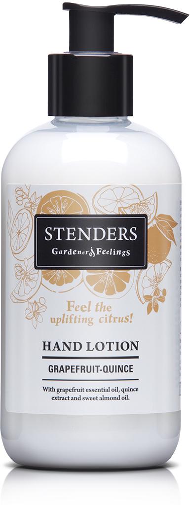 Stenders Лосьон для рук Грейпфрут, 245 млHLTN002Наш легкий лосьон для рук, обогащенный грейпфрутовым эфирным маслом, экстрактом цидонии, твердым маслом ши и маслом сладкого миндаля, быстро впитается в кожу, увлажнит и восстановит ее комфортное состояние, а также сделает ваши руки необычайно нежными и придаст им бодрящий аромат цитрусовых.