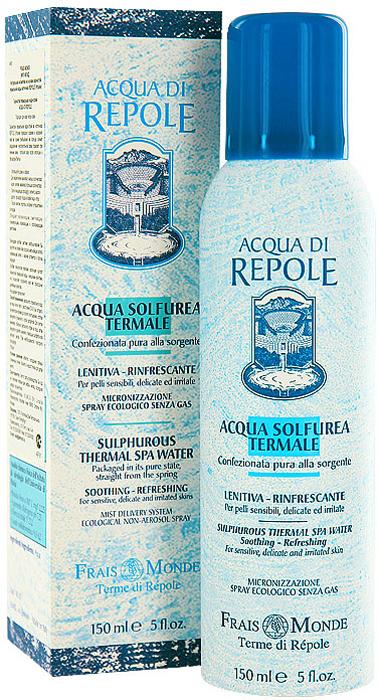 Сернистая термальная вода-спрей Frais Monde Acqua Di Repole, для всех типов кожи, 150 млAR01Сернистая термальная вода-спрей Frais Monde Acqua Di Repole из источника Repole (Италия) прекрасно освежит и увлажнит кожу во время пребывания на солнце, снимет раздражение чувствительной кожи, поможет при лечении акне, успокоит кожу после эпиляции и процедуры бритья, подойдет для ухода за нежной детской кожей.Обладает увлажняющим, смягчающим, тонизирующим, освежающим и успокаивающим действием.Благодаря особой системе разбрызгивания dы ощутите на своей коже россыпь мельчайших капель освежающей влаги, а макияж останется в полном порядке! Особая технология упаковки исключает контакт сернистой термальной воды с внешними агентами, что позволяет сохранить все ее природные целебные свойства.Не содержит пропеллент. Способ применения: распылить термальную воду на лицо или тело с расстояния 20-30 см, оставить на некоторое время до полного впитывания, остатки аккуратно промокнуть сухой салфеткой. Для снятия макияжа - обильно распылить спрей на лицо, затем аккуратно удалить макияж с помощью салфетки или ватного диска. При необходимости повторить процедуру. Характеристики:Объем: 150 мл. Производитель: Италия.Итальянская компанияISMEG Srlпоявилась, благодаря принадлежащему ей термальному источнику, богатому серой. Компания придерживается традиции производства высококачественной продукции, ее миссия - обновлять производство, но сохранять естественные неповрежденные формулы. Компанию отличают глубокие исследования в области косметики и страсть к развитию природных ресурсов.Товар сертифицирован.