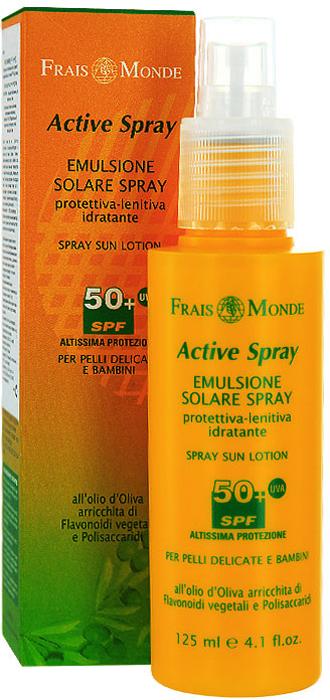 Спрей-лосьон для загара Frais Monde, для чувствительной кожи, SPF 50+, 125 млFS027NСпрей-лосьон для тела Frais Monde - абсолютно натуральный солнцезащитный продукт на основе масла оливы. Прекрасно дополняет действие кремов для загара Frais Monde всех степеней защиты, также может использоваться как самостоятельное средство для защиты от солнца.Благодаря содержанию полисахаридов спрей-лосьон успокаивает нежную кожу и предупреждает покраснение. Масла оливы и флавоноиды эффективно защищают кожу от сухости, увлажняют, делая ее мягкой. Комбинация UVA + UVB фильтров борется со свободными радикалами, вызывающими старение кожи, защищает кожу от неблагоприятного воздействия солнца и продлевает загар.Подходит для чувствительной, светлой и нежной белой кожи.Способ применения: равномерно нанести спрей-лосьон на все тело перед выходом на солнце, при длительном пребывании на солнце и после купания нанести повторно. Перед применением взбалтывать.Не предназначен для использования в солярии. Характеристики:Объем: 125 мл. Фактор защиты: 50+. Производитель: Италия.Итальянская компанияISMEG Srlпоявилась, благодаря принадлежащему ей термальному источнику, богатому серой. Компания придерживается традиции производства высококачественной продукции, ее миссия - обновлять производство, но сохранять естественные неповрежденные формулы. Компанию отличают глубокие исследования в области косметики и страсть к развитию природных ресурсов.Товар сертифицирован.