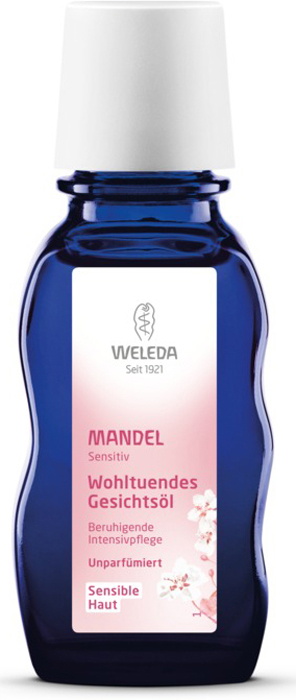 Weleda Масло для лица Миндальное, деликатное, 50 мл9361Нежнейшее миндальное масло Weleda Mandel устраняет сухость и шелушение кожи. Идеально подходит для кожи, склонной к раздражению. Быстро успокаивает, глубоко насыщает каждую клеточку кожи. Не оставляет жирного блеска.Эффективно снимает макияж, бережно ухаживая за нежной кожей области глаз.Прекрасно подходит для косметического массажа области лица, шеи и декольте. Характеристики:Объем: 50 мл. Размер упаковки: 4,5 см х 3,5 см х 11,5 см. Производитель: Германия. Артикул: 8030. Товар сертифицирован.