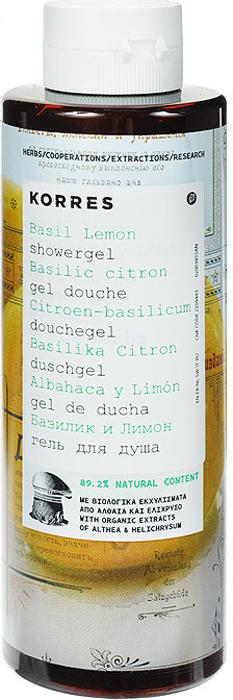 Korres Гель для душа Базилик и лимон, 250 мл гель для душа korres мятный чай
