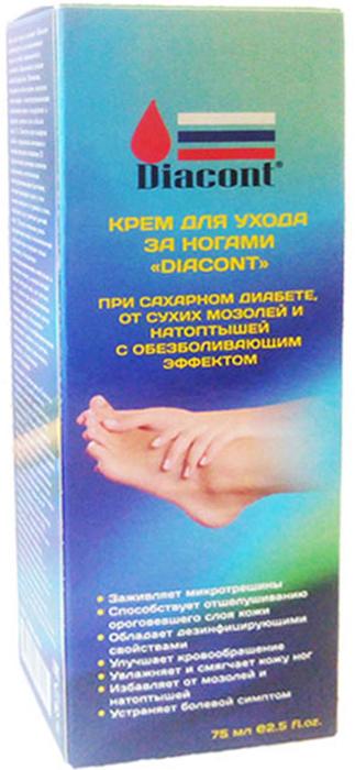 Diacont Крем для ухода за ногами Diacont при сахарном диабете, от сухих мозолей и натоптышей, с обезболивающим эффектом, 75 мл1541Крем для ухода за ногами Diacont при сахарном диабете, от сухих мозолей и натоптышей с обезболивающим эффектом. Применяется у больных сахарным диабетом. ОСНОВНЫЕ СВОЙСТВА КРЕМА: Заживляет микротрещиныСпособствует отшелушиванию ороговевшего слоя кожиОбладает дезинфицирующими свойствамиУлучшает кровообращениеУвлажняет и смягчает кожу ногИзбавляет от мозолей и натоптышейУстраняет болевой симптом. Крем для ухода за ногами Diacont рекомендуется для ежедневного ухода за сухой, шероховатой и склонной к образованию трещин кожей ступней ног. Мочевина, входящая в состав крема, является естественным влагоудерживающим компонентом кожи и содержится в здоровом роговом слое в объеме около 1%. Зачастую при сахарном диабете содержание мочевины в кожных покровах понижено. В дерматологии мочевина является испытанным, естественным влагоудерживающим фактором, который связывает влагу и тем самым повышает ее уровень в коже, ослабляет зуд и смягчает роговой слой. В целях снижения риска раздражения кожи и возникновения аллергии крем содержит только мочевину, обладающую влагоудерживающими свойствами, и кремовую основу, в состав которой входит экстракт овса,сок листьев алоэ и масло ши, способствующие заживлению микротрещин, масло чайного дерева, обладающее очищающими и дезинфицирующими свойствами, ментол с его местно-анестезирующими свойствами и камфора, улучшающая кровообращение. Входящий в состав крема capsaicin уменьшает болевой симптом, сопровождающий диабетическую полинейропатию, которая часто развивается у больных сахарным диабетом. Capsaicin - раздражающее средство природного происхождения, выделяется из стручков красного перца. При местном применении Capsaicin уменьшает количество природного соединения, известного под названием вещество Р, присутствующего в болезненных суставах и мышцах ног. Это вещество Р включается в два центральных процесса: высвобождени