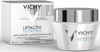 Vichy Крем для упругости сухой и очень сухой кожи Liftactiv Супрем, 50 млM8918200Первый дневной лифтинг непрерывного действия против морщин и для упругости кожи. Инновация: - 3D Оптическая коррекция (матирующая пудра, карнаубский воск, технология жидкий свет, светоотражающие частицы) - Рамноза 5% + Неогесперидин 0,2% - Комплекс DAY PROOF (Кофеин 0,2% + Аденозин 0,1%) Эффективность:+ 32% упругости + 15% более сияющий цвет лица+ 60% сглаженные черты лицаПридает коже ровный сияющий тон, мгновенно корректирует морщины. Лицо выглядит свежим, отдохнувшим, подтянутым. Упругая молодая кожа в течении всего дня!