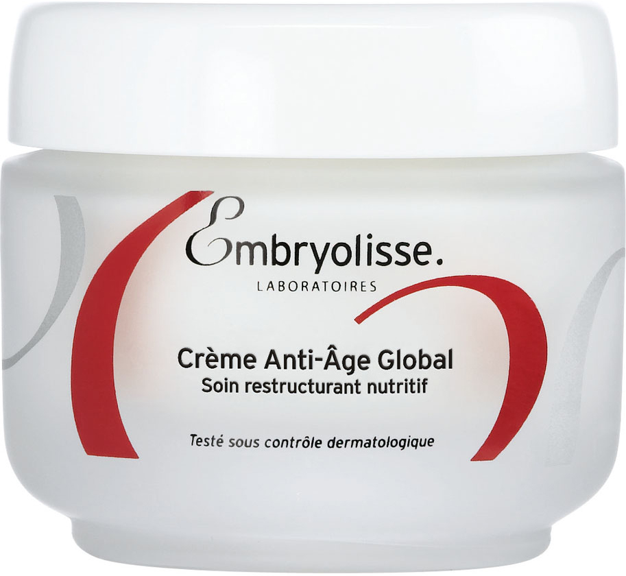 Embryolisse Глобальный антивозрастной крем, 50 мл85080-2Восстанавливает – Питает - Разглаживает.Для зрелой сухой и очень сухой кожи 60+ Комплексный восстанавливающий и питательный уход для очень зрелой, тонкой и сухой кожи. Трио главных антивозрастных компонентов: Омега 9, витамин Е и гиалуроновая кислота, объединили свои усилия для эффективного восстановления Вашей кожи. Питательные ингредиенты натурального происхождения (масло Ши, пчелиный воск, Алоэ Вера и экстракт сои) восстанавливают кожу, усиливая её защитные функции. День за днём кожа становится более ровной, подтянутой, эластичной и нежной. Оптимальное сочетание компонентов обеспечивает увлажнение и питание коже, возвращая ей сияние и красоту. Комфортная забота избавляет от чувства стянутости, кожа снова становится нежной и бархатной. Насыщенная текстура быстро впитывается.