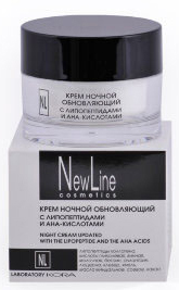 New Line Крем ночной обновляющий с липопетидами и АНА кислотами,50мл new line professional пилинг клюквенный для зрелой кожи ана 40 5