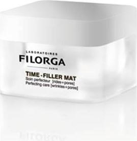Filorga Дневной крем Time-Filler Mat50 мл.39661010Эффективно сокращает морщины, стимулируя синтез коллагена и восстанавливая плотность кожи. Сужает поры и выравнивает рельеф кожи, матирует и предупреждает появление блеска Тайм-Филлер Мат дневной крем воздействует на: - МОРЩИНЫ: трипептид, обладающий ботолотоксин лайк действием разглаживает мимические морщины, мощный пептид стимулирует синтез гиалуроновой кислоты и коллагена для видимого эффекта заполнения морщин. - ПОРЫ: компонент, полученный из греческого дерева, уменьшает размер пор начиная с 14 дня применения и препятствует появлению дефектов кожи. Светоотражающие частицы мгновенно выравнивают рельеф. -ЖИРНЫЙ БЛЕСК: пидолат цинка в сочетании с растительными экстрактами матирует и устраняет жирный блеск. С 14-ГО ДНЯ ПРИМЕНЕНИЯ КОЖА СТАНОВИТСЯ БОЛЕЕ МАТОВОЙ,КОЛИЧЕСТВО ВЫРАБОТКИ КОЖНОГО САЛА СОКРАЩАЕТСЯ НА 30%.ОТМЕЧАЕТСЯ ЗНАЧИТЕЛЬНОЕ СОКРАЩЕНИЕ МОРЩИН:ГУСИНЫЕ ЛАПКИ -25%, ЛОБНЫЕ МОРЩИНЫ -18%*. * Усредненный инструментальный метод в 3D-изображении- 40 женщин 28 дней применения утро+вечер.Сокращает морщины, сужает поры, длительно матирует