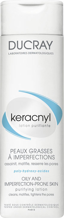 Ducray Очищающий лосьон Keracnyl 200 млB28092Сочетание очищающей основы и увлажняющих компонентов обеспечивает бережное очищение. Комбинация Воды гамамелиса и Альфа-бисаболола очищает и обеспечивает контроль блеска, матирует, сужает поры,успокаивает кожу.