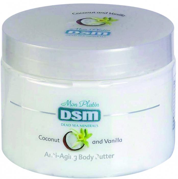 Mon Platin DSM Масло для тела для предотвращения старения (анти-эйджинг) с ванильно-кокосовое 300 млDSM96Масло для тела для предотвращения старения (анти-эйджинг) ваниль-кокос обладает успокаивающим действием, придаёт коже эластичность, ускоряет обновление её клеток и повышает упругость кожи. Содержит 26 минералов Мертвого моря, витаминов А и С. Кокосовое масло является прекрасным источником питания для кожи, создаёт устойчивый защитный барьер, предохраняет кожу от пересыхания, делает её мягкой и гладкой.Масло ванили обладает омолаживающим свойством, делает кожу более мягкой, упругой и подтянутой, воздействует на её регенерацию и сохранение в ней влаги.