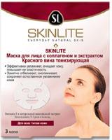 Маска для лица Skinlite с коллагеном и экстрактом Красного вина, тонизирующая, 3 шт