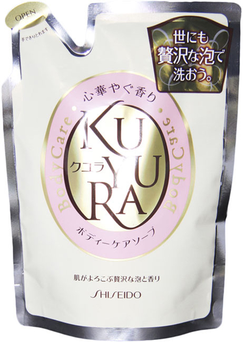 Гель для душа Kuyura с ароматом цветов, сменная упаковка, 400 мл836277Гель для душа Kuyura поможет в уходе за Вашим телом при помощи необыкновенно обильной пены с ненавязчивым, расслабляющим ароматом цветов. Гель предотвращает сухость, поддерживая ее в увлажненном и здоровом состоянии, а также делает кожу мягкой при продолжительном использовании. Превосходно удаляет ненужную ороговевшую кожу и смывает загрязнения, но при этом не лишает кожу необходимой влаги.Характеристики: Вес: 400 мл. Производитель: Япония. Артикул: 836277.Товар сертифицирован.