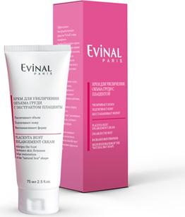 Evinal Крем для увеличения объема груди, с экстрактом плаценты, 75 мл0226Эффективное быстродействующее средство Evinal в виде нежирного пленкообразующего крема рекомендуется при первых признаках дряблости кожи, возникающих после беременности, после режима похудения или в результате возрастных изменений. Крем подтягивает кожу, уплотняет ткани, замедляет процессы старения, оказывает регенерирующее действие, увлажняет, восстанавливает форму природного бюстгальтера, увеличивает объем груди, улучшает общий вид груди. Этот крем защищает волокна коллагена и эластина и способствует поддержанию упругости тканей. Характеристики:Объем: 75 мл. Производитель: Россия. Артикул: 0226. Товар сертифицирован.
