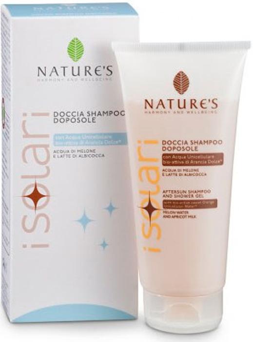 Natures Шампунь-гель для душа, после загара, 2 в 1, 200 мл60041649Шампунь-гель для душа Natures после загара рекомендуется для использования после принятия солнечных ванн. Деликатно очищает кожу и волосы, удаляя остатки соли, песка и солнцезащитных средств. Предотвращает чрезмерное обезвоживание кожи, способствуя стойкому загару и придает волосам мягкость и блестящий вид. Идеальное дополнение к солнцезащитным средствам, предотвращает фотостарение, то есть преждевременное старение кожи, вызванное УФ-лучами. Характеристики:Объем: 200 мл. Производитель: Италия. Артикул:60041649. Товар сертифицирован.