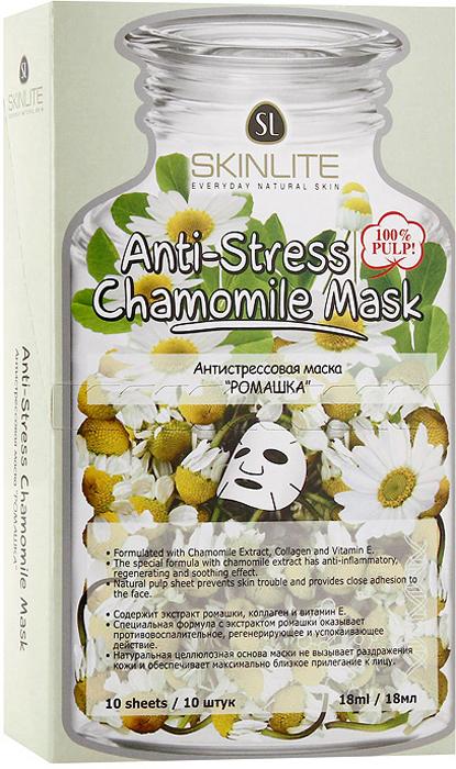 Маска Skinlite Ромашка, антистрессовая, 10 штSL-248Антистрессовая маска Skinlite Ромашка содержит специальную формулу с лечебной ромашкой, коллагеном и витамином Е, оказывает успокаивающее, увлажняющее действие. Смягчает кожу, стимулирует процесс восстановления клеток. Эффективно восстанавливает обменные процессы в коже, подтягивая и разглаживая ее.Активные вещества экстракта ромашки обладают противовоспалительным, противоаллергическим, регенерирующим, антибактериальным и заживляющим действием, снимают раздражение, повышает иммунитет кожи.При регулярном применении маски кожа выглядит ухоженной, гладкой, здоровой! Способ применения: полностью очистите лицо, аккуратно приложите маску к лицу, убедившись, что она плотно прилегает к коже. Оставьте на 15-20 минут. Снимите, медленно потянув за края. Характеристики:Количество масок: 10 шт. Объем одной маски: 18 мл. Размер упаковки: 18 см х 10,5 см х 4 см. Производитель: Южная Корея. Артикул:SL-248.Товар сертифицирован.