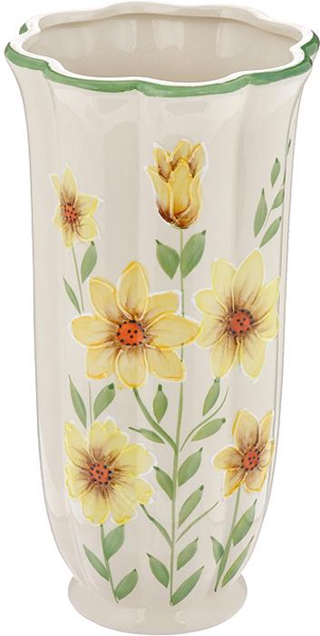 Ваза Цинния, керамическая, высота 25 см. 559-012559-012Ваза Цинния, выполненная из керамики, украсит интерьер вашего дома или офиса. Оригинальный дизайн и красочное исполнение создадут праздничное настроение. Вы можете поставить вазу в любом месте, где она будет удачно смотреться, и радовать глаз. Такая ваза подойдет и для цветов, и для декора интерьера. Кроме того - это отличный вариант подарка для ваших близких и друзей. Характеристики:Материал:керамика. Цвет: бежевый, желтый, зеленый. Высота вазы: 25 см. Диаметр вазы по дну: 13,5 см. Диаметр горлышка вазы: 7 см. Изготовитель: Китай.