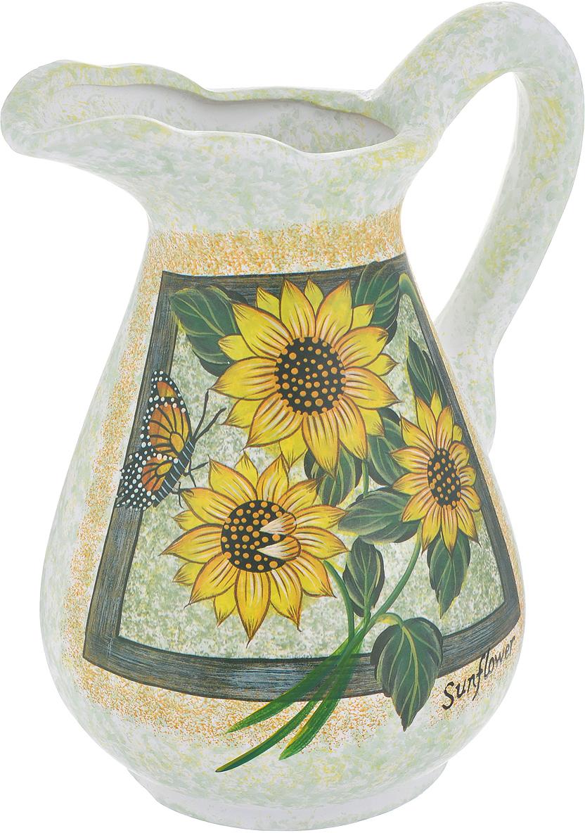 Ваза Lillo Солнечные цветы, высота 25 смLil 3052Элегантная ваза Lillo Солнечные цветы выполнена из высококачественной керамики в виде кувшина и декорирована рисунком. Она придется по вкусу и ценителям классики, и тем, кто предпочитает утонченность и изящность. Вы можете поставить вазу в любом месте, где она будет удачно смотреться и радовать глаз. Такая ваза подойдет и для цветов, и для декора интерьера. Кроме того - это отличный вариант подарка для ваших близких и друзей. Высота вазы: 25 см.Диаметр основания: 11,5 см.