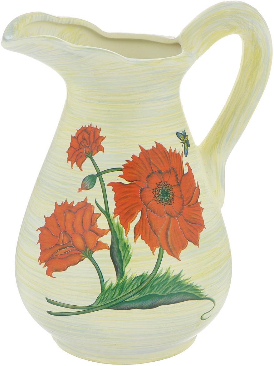 Ваза Lillo Красные цветы, высота 25 смLIL 3187Элегантная ваза Lillo Красные цветы выполнена из высококачественной керамики в виде кувшина и декорирована рисунком. Она придется по вкусу и ценителям классики, и тем, кто предпочитает утонченность и изящность. Вы можете поставить вазу в любом месте, где она будет удачно смотреться и радовать глаз. Такая ваза подойдет и для цветов, и для декора интерьера. Кроме того - это отличный вариант подарка для ваших близких и друзей. Высота вазы: 25 см.Диаметр основания: 11,5 см.