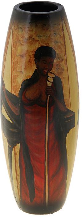 Ваза Певица, цвет: коричневый, черный, 32 х 12 х 7 см. 106850106850Декоративные вазы в наше время пользуются очень большим спросом. Любители украшать свой дом, оценят античную вазу-бочонок Певица, которая может стать не только красивым, но и практичным дополнением любого интерьера. Изящная ваза ручной работы Певица изготовлена из высококачественной керамики. Изделие станет отличным подарком для родных и близких.