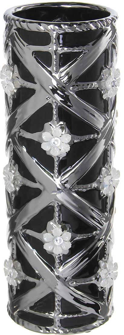 Ваза Sima-land Цветочный орнамент, цвет: черный, серый, высота 27 см ваза sima land серебряная роза высота 18 см