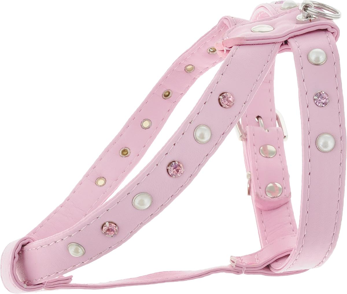 Шлейка для собак GLG, двойная, цвет: розовый. Размер 3AM-DC044/CШлейка для собак GLG, изготовленная из искусственной кожи, подходит для собак малых и средних пород. Крепкие металлические элементы делают ее надежной и долговечной. Шлейка - это альтернатива ошейнику. Правильно подобранная шлейка не стесняет движения питомца, не натирает кожу, поэтому животное чувствует себя в ней уверенно и комфортно. Изделие отличается высоким качеством, удобством и универсальностью. Размер регулируется при помощи пряжек.Обхват шеи: 28 см. Обхват груди: 28-35 см.Ширина шлейки: 1,5 см.