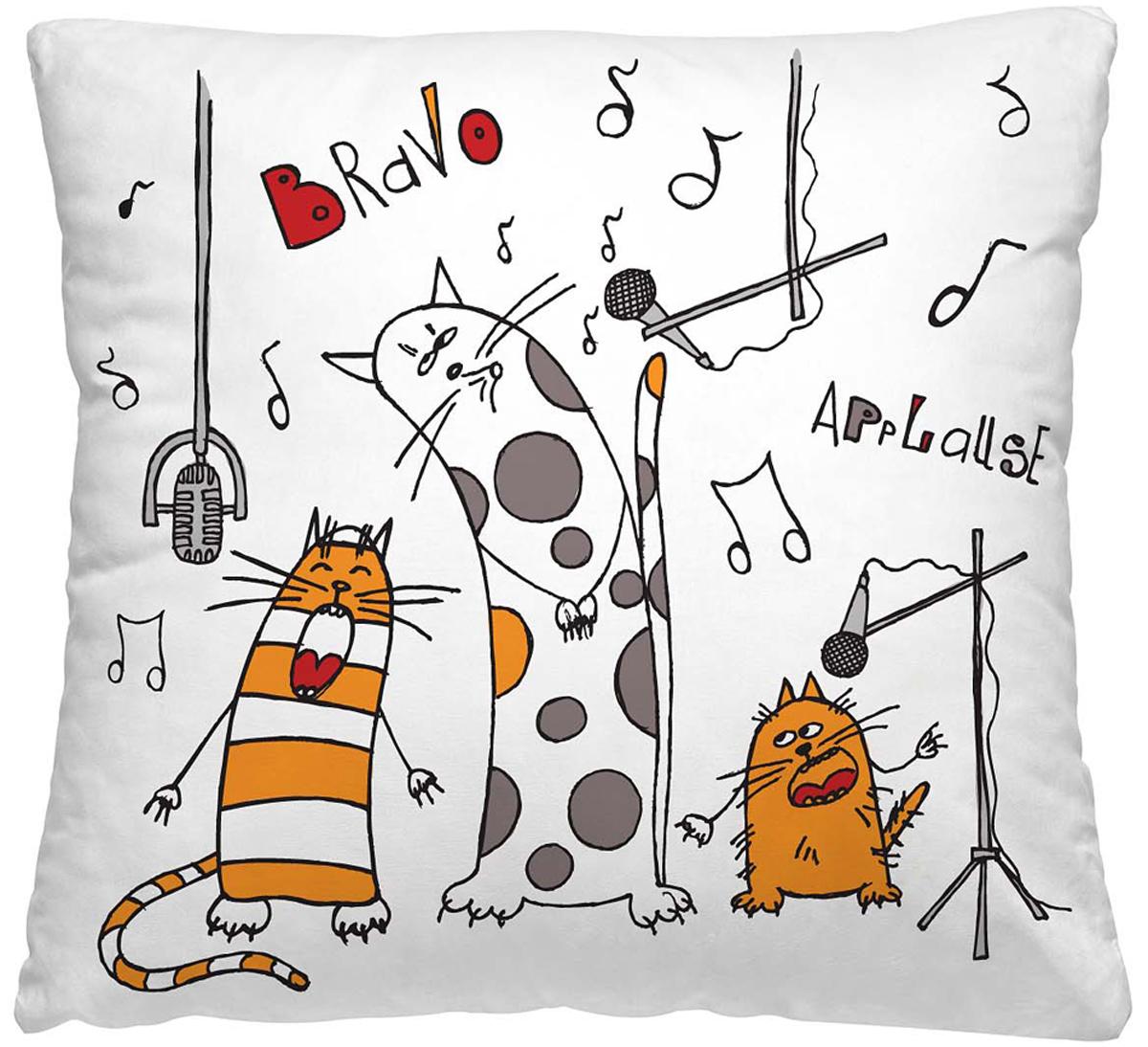 Подушка декоративная Волшебная ночь Веселые коты, 40 х 40 см195636Декоративная подушка Волшебная ночь Веселые коты прекрасно дополнит интерьер спальни или гостиной. Чехол подушки выполнен из 100% полиэстера. Лицевая сторона украшена красивым рисунком. Наполнитель - полиэстер.Красивая подушка создаст атмосферу уюта в доме и станет прекрасным элементом декора.Особенности изделия: - Съёмный чехол на молнии; - Наполнитель в индивидуальной наволочке; - Оборотная сторона из стёганого полотна для улучшения формоустойчивостиРазмер: 40 x 40 см.