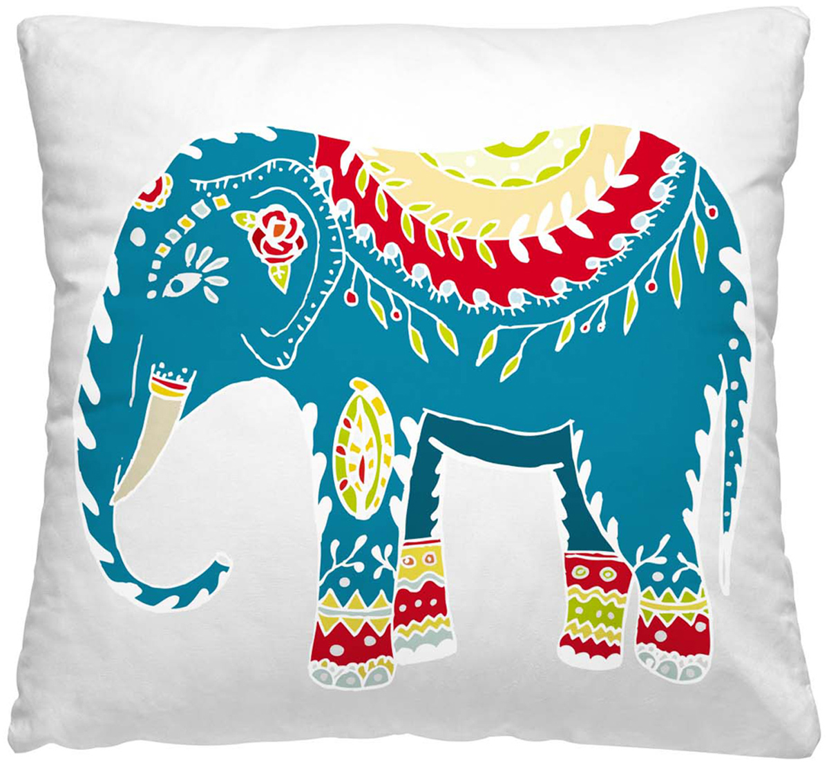 """Декоративная подушка Волшебная ночь """"Индийский слон"""" прекрасно дополнит интерьер спальни или гостиной. Чехол подушки выполнен из 100% полиэстера.  Лицевая сторона украшена красивым рисунком. Наполнитель - полиэстер.Красивая подушка создаст атмосферу уюта в доме и станет прекрасным  элементом декора. Особенности изделия: - Съёмный чехол на молнии; - Наполнитель в индивидуальной наволочке; - Оборотная сторона из стёганого полотна для улучшения формоустойчивости.  Размер: 40 x 40 см."""